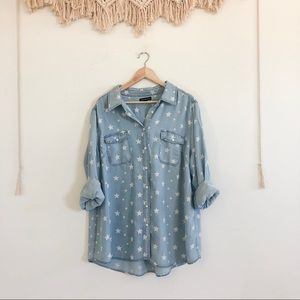 Lane Bryant Light Blue Chambray Button Up w/ Stars